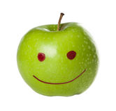 Mela verde sorridente Immagini Stock Libere da Diritti