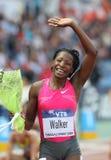 Melaine Walker. THESSALONIKI, GREECE - SEPT 12:Melaine Walker celebrates winning the women's 400m hurdles final at the IAAF 2009 World Athletics Final on Royalty Free Stock Image