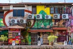 MELAKA, МАЛАЙЗИЯ - 30,2018 -ГО ДЕКАБРЬ: Искусство улицы на зданиях вдоль реки Melaka Город Малаккы, прозванный исторического госу стоковое фото rf