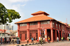 在Melaka街道的历史大厦  免版税库存照片
