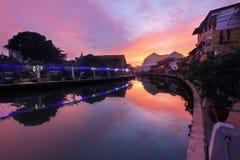 Melaka flodsoluppgång Royaltyfria Bilder