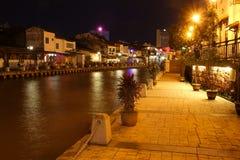 Melaka flodstrand på natten, Malaysia Fotografering för Bildbyråer