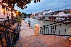 Melaka flodstrandpromenad, Malaysia Arkivbilder