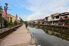 Melaka flodstrandpromenad, Malaysia Fotografering för Bildbyråer