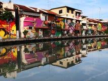 Melaka hermoso - Malasia verdad Asia - pintada de la orilla del río Imágenes de archivo libres de regalías