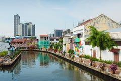 Melaka, Malásia - 22 de março de 2016: Reflexão da rua e Fotografia de Stock