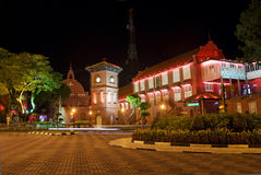 Melaka malacca malaysia square dutch colonial. Architecture night colorful asian urban buildings Royalty Free Stock Photography