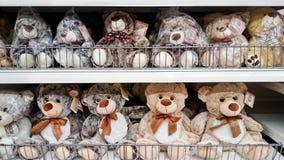Teddy bear on shelf rack. MELAKA, MALAYSIA - April 13, 2018 : Assorted teddy bear on shelf rack display in the Tesco store royalty free stock photo