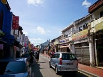 Jonker Street Melaka. MELAKA, MALAYSIA - April 11, 2018 : View around the Jonker Street. Historical road with old building structure. Also known as China town in Royalty Free Stock Photos