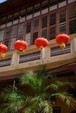 Melaka, Malaysia. Chinese new year lantern. Festive red lantern, Chinese new year celebration in Melaka, Malaysia. Chinatown old houses facades royalty free stock image