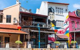 MELAKA, MALAYSIA -DECEMBER 30,2018: Street art on buildings along the Melaka river. Malacca, dubbed Historic State historical city royalty free stock images