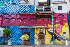 MELAKA, MALAYSIA -DECEMBER 30,2018: Street art on buildings along the Melaka river. Malacca, dubbed Historic State historical city stock photography