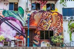 MELAKA, MALAYSIA -DECEMBER 30,2018: Street art on buildings along the Melaka river. Malacca, dubbed Historic State historical city stock photo