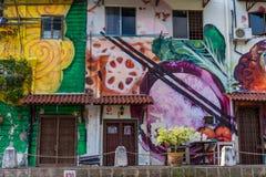 MELAKA, MALAYSIA -DECEMBER 30,2018: Street art on buildings along the Melaka river. Malacca, dubbed Historic State historical city royalty free stock photography