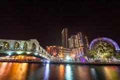 Melaka river in the night Stock Image