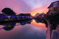Melaka river sunrise Royalty Free Stock Images