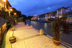 Melaka riverside esplanade, Malaysia. Evening scene at the Melaka riverside esplanade, Malaysia Royalty Free Stock Image