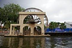Melaka Water Wheel. River view of the Melaka Malay Sultanate Water Wheel, Malacca Malaysia stock photography