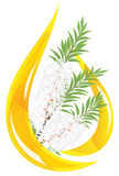 Melaleuca. Gota estilizada del petróleo esencial. Imagen de archivo
