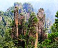 Melaleuca rock in Tianzi mountain. Zhangjiajie beautiful and spectacular peaks Royalty Free Stock Photos