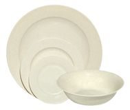Melamin bowl, saucers and plates isolated on white Stock Photos