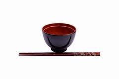 Melamine bowl and wooden chopstick Stock Image