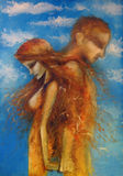 Melancholia. Painting of love couple on blue sky background Royalty Free Stock Images
