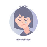 Melancholiac subject image. Type of temperament. Flat icon of crying slouching girl. Modern vector illustration of woman with black hair. Image is out of Royalty Free Stock Photo