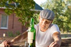 Melancholic addicted man recalling memories Stock Images