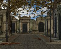 Melancholic Cemetery. 3D background of a melancholic cemetery lane Royalty Free Stock Image