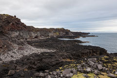 Melancholic Iceland landscape with black volcanic. Stock Photo