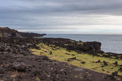 Melancholic Iceland landscape with dark volcanic. Stock Photography