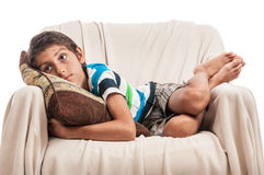Melancholic little boy portrait Royalty Free Stock Photo