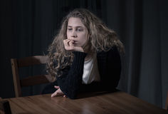 Melancholic lonely woman Royalty Free Stock Images