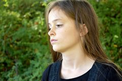 Melancholic Looking Teenage Girl Stock Photography