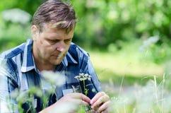 Melancholic man ponders problem during nature walk Royalty Free Stock Photography