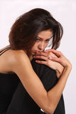 melancholoy kvinna Arkivfoto