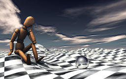 Melancholy. A jointed doll in a chess patterned landscape Royalty Free Illustration