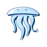 Melancholy blue jellyfish with tentacles and eyes Royalty Free Stock Photos