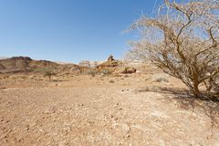 Melancholy and emptiness of the desert in Israel. Melancholy and emptiness of the rocky hills of the Negev Desert in Israel. Breathtaking landscape and nature of royalty free stock photography