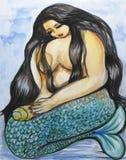 Melancholy Mermaid. Painting of a melancholy mermaid, with long black hair Stock Photo