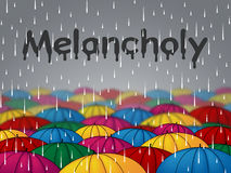 Melancholy Rain Indicates Low Spirits And Dejectedness Royalty Free Stock Image