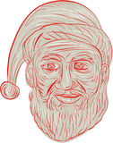 Melancholy Santa Claus Head Drawing Royalty Free Stock Images