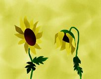 Melancholy Sunflowers Painting Stock Image