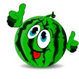 A melancia alegre madura mostra os polegares acima e colado para fora a língua ilustração stock