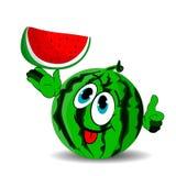 A melancia alegre madura mostra uma fatia e cola para fora sua língua ilustração stock