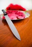 Melancia deliciosa com uma faca Imagens de Stock