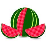 Melancia do ícone do vetor e fatia lisas de melancia Imagem de Stock