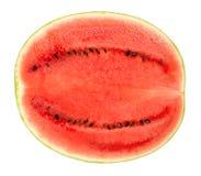 Melancia doce meia, vista de seção transversal, dianteira, sobre o branco Imagem de Stock