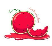 Melancia suculenta e dos desenhos animados com um bocado da melancia no suco Vetor e isolado brilhante da melancia no fundo branc ilustração do vetor